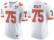 Wholesale Cheap Men's Clemson Tigers #75 Mitch Hyatt White 2017 Championship Game Patch Stitched CFP Nike Limited Jersey