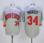 Wholesale Cheap Mitchell And Ness 1987 Twins #34 Kirby Puckett Grey Throwback Stitched MLB Jersey