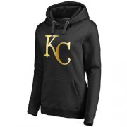 Wholesale Cheap Women's Kansas City Royals Gold Collection Pullover Hoodie Black
