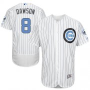 Wholesale Cheap Cubs #8 Andre Dawson White(Blue Strip) Flexbase Authentic Collection Father's Day Stitched MLB Jersey