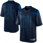 Wholesale Cheap Nike Seahawks #24 Marshawn Lynch Steel Blue Men's Stitched NFL Drenched Limited Jersey