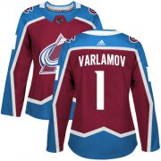 Wholesale Cheap Adidas Avalanche #1 Semyon Varlamov Burgundy Home Authentic Women's Stitched NHL Jersey