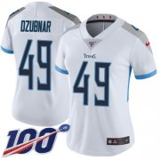 Wholesale Cheap Nike Titans #49 Nick Dzubnar White Women's Stitched NFL 100th Season Vapor Untouchable Limited Jersey