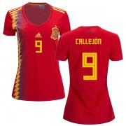Wholesale Cheap Women's Spain #9 Callejon Red Home Soccer Country Jersey