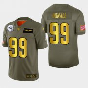 Wholesale Cheap Nike Rams #99 Aaron Donald Men's Olive Gold 2019 Salute to Service NFL 100 Limited Jersey