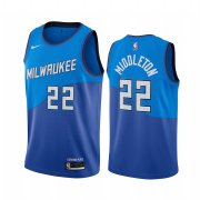 Wholesale Cheap Nike Bucks #22 Khris Middleton Blue NBA Swingman 2020-21 City Edition Jersey