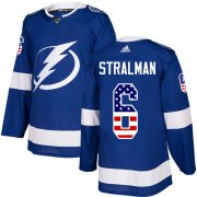 Wholesale Cheap Adidas Lightning #6 Anton Stralman Blue Home Authentic USA Flag Stitched NHL Jersey
