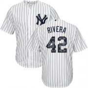 Wholesale Cheap Yankees #42 Mariano Rivera White Strip Team Logo Fashion Stitched MLB Jersey