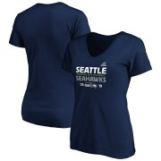Wholesale Cheap Seattle Seahawks Women's 2019 NFL Playoffs Bound Hometown Checkdown V-Neck T-Shirt College Navy