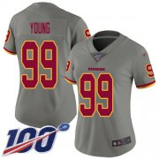 Wholesale Cheap Nike Redskins #99 Chase Young Gray Women's Stitched NFL Limited Inverted Legend 100th Season Jersey
