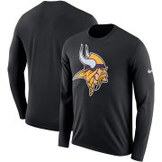 Wholesale Cheap Minnesota Vikings Nike Fan Gear Primary Logo Performance Long Sleeve T-Shirt Black