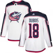 Wholesale Cheap Adidas Blue Jackets #18 Pierre-Luc Dubois White Road Authentic Stitched Youth NHL Jersey