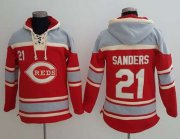 Wholesale Cheap Reds #21 Reggie Sanders Red Sawyer Hooded Sweatshirt MLB Hoodie