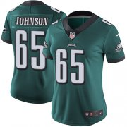 Wholesale Cheap Nike Eagles #65 Lane Johnson Midnight Green Team Color Women's Stitched NFL Vapor Untouchable Limited Jersey