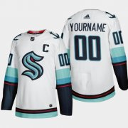 Wholesale Cheap Seattle Kraken Custom Men's Adidas 2021-22 White Away Authentic Stitched NHL Jersey