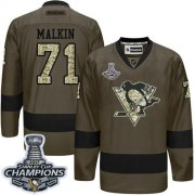 Wholesale Cheap Penguins #71 Evgeni Malkin Green Salute to Service 2017 Stanley Cup Finals Champions Stitched NHL Jersey
