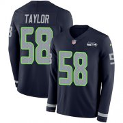 Wholesale Cheap Nike Seahawks #58 Darrell Taylor Steel Blue Team Color Youth Stitched NFL Limited Therma Long Sleeve Jersey