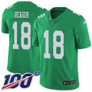 Wholesale Cheap Nike Eagles #18 Jalen Reagor Green Youth Stitched NFL Limited Rush 100th Season Jersey