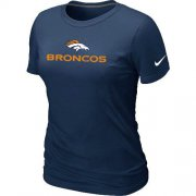 Wholesale Cheap Women's Nike Denver Broncos Authentic Logo T-Shirt D.Blue