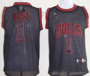 Wholesale Cheap Chicago Bulls #1 Derrick Rose All Black With Red Swingman Jersey