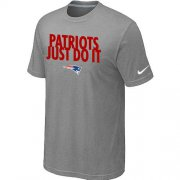 Wholesale Cheap Nike New England Patriots Just Do It Light Grey T-Shirt