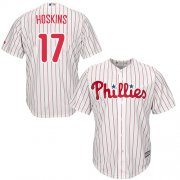 Wholesale Cheap Phillies #17 Rhys Hoskins White(Red Strip) Cool Base Stitched Youth MLB Jersey
