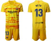 Wholesale Cheap Barcelona #13 Neto Yellow Goalkeeper Soccer Club Jersey