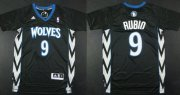 Wholesale Cheap Minnesota Timberwolves #9 Ricky Rubio Revolution 30 Swingman 2014 Black Jersey