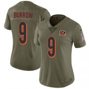 Wholesale Cheap Nike Bengals #9 Joe Burrow Olive Women's Stitched NFL Limited 2017 Salute To Service Jersey