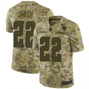 Wholesale Cheap Nike Vikings #22 Harrison Smith Camo Youth Stitched NFL Limited 2018 Salute to Service Jersey