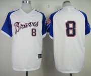 Wholesale Cheap Mitchell And Ness Braves #8 Bob Uecker White Throwback Stitched MLB Jersey