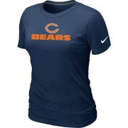 Wholesale Cheap Women's Nike Chicago Bears Authentic logo T-Shirt D.Blue