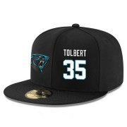 Wholesale Cheap Carolina Panthers #35 Mike Tolbert Snapback Cap NFL Player Black with White Number Stitched Hat