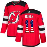 Wholesale Cheap Adidas Devils #11 Brian Boyle Red Home Authentic USA Flag Stitched Youth NHL Jersey