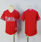 Wholesale Cheap Phillies Blank Red Alternate Cool Base Stitched Youth MLB Jersey