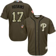 Wholesale Cheap Phillies #17 Rhys Hoskins Green Salute to Service Stitched Youth MLB Jersey