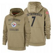 Wholesale Cheap Pittsburgh Steelers #7 Ben Roethlisberger Nike Tan 2019 Salute To Service Name & Number Sideline Therma Pullover Hoodie