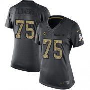 Wholesale Cheap Nike Dolphins #75 Ereck Flowers Black Women's Stitched NFL Limited 2016 Salute to Service Jersey