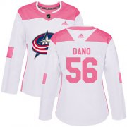 Wholesale Cheap Adidas Blue Jackets #56 Marko Dano White/Pink Authentic Fashion Women's Stitched NHL Jersey