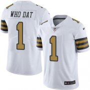 Wholesale Cheap Nike Saints #1 Who Dat White Men's Stitched NFL Limited Rush Jersey