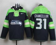 Wholesale Cheap Nike Seahawks #31 Kam Chancellor Steel Blue Player Pullover NFL Hoodie