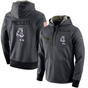 Wholesale Cheap NFL Men's Nike Dallas Cowboys #4 Dak Prescott Stitched Black Anthracite Salute to Service Player Performance Hoodie