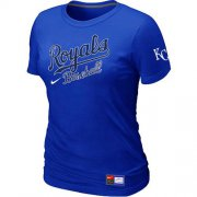 Wholesale Cheap Women's MLB Kansas City Royals Blue Nike Short Sleeve Practice T-Shirt