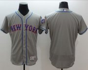 Wholesale Cheap Mets Blank Grey Flexbase Authentic Collection Stitched MLB Jersey
