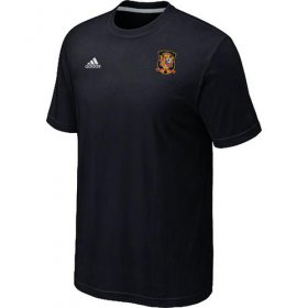 Wholesale Cheap Adidas Spain 2014 World Small Logo Soccer T-Shirt Black