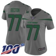 Wholesale Cheap Nike Jets #77 Mekhi Becton Gray Women's Stitched NFL Limited Inverted Legend 100th Season Jersey