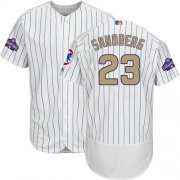 Wholesale Cheap Cubs #23 Ryne Sandberg White(Blue Strip) Flexbase Authentic 2017 Gold Program Stitched MLB Jersey