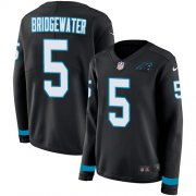 Wholesale Cheap Nike Panthers #5 Teddy Bridgewater Black Team Color Women's Stitched NFL Limited Therma Long Sleeve Jersey