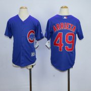Wholesale Cheap Cubs #49 Jake Arrieta Blue Cool Base Stitched Youth MLB Jersey