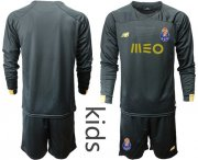 Wholesale Cheap Oporto Blank Black Goalkeeper Long Sleeves Kid Soccer Club Jersey
